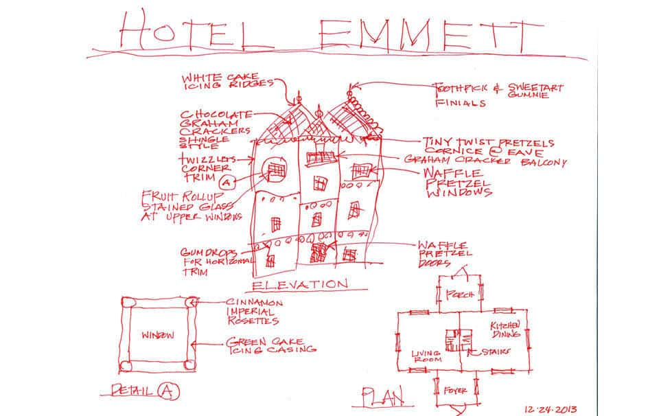 Drawings for the Graham Cracker House, formerly the Emmett Hotel.