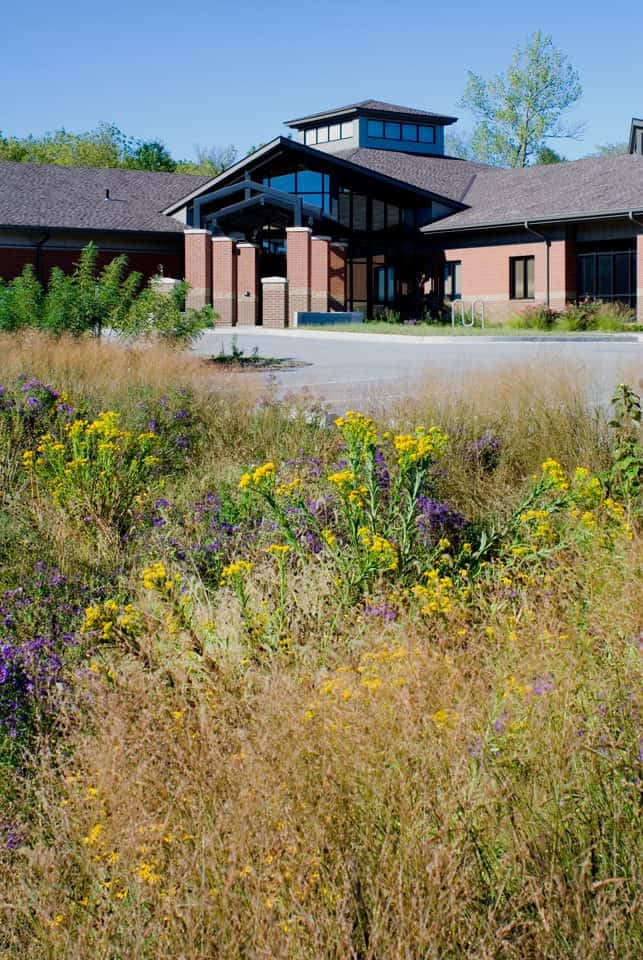 The entry of the Missouri Conference Office of the United Methodist Church features a rain garden.