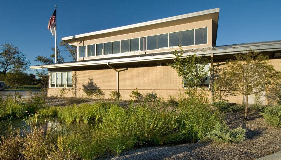 While providing the Missouri Credit Union site with a pleasant, more natural environment, the landscaping and rain gardens help filter contaminants and pollutants before they enter the storm water system.