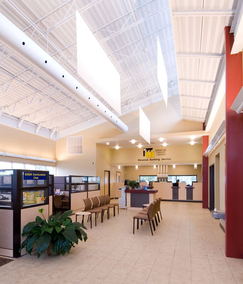 Commercial Project: Lobby of the Missouri Credit Union on Smiley Lane in Columbia, Missouri.