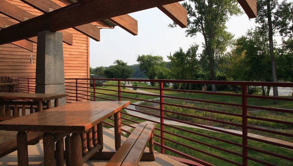 From the exterior deck of the Remington Nature Center visitors can take in a view of the Missouri River or demonstration gardens near the riverwalk.