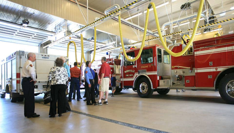 The apparatus bays of the Boonville Fire Station are able to shelter a 100 foot ladder truck and other apparatus.
