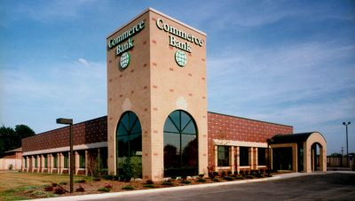 Commerce Bank's contemporary design is a blend of styles, which are noticeable from two major thoroughfares.