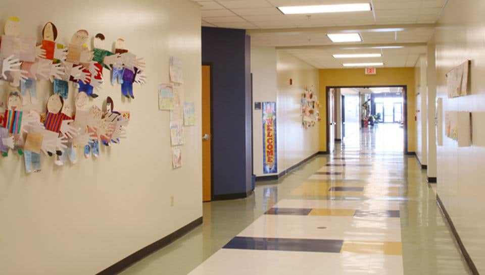 Hallway of the 3rd and 4th grade elementary building at Southern Boone County R-1 Schools in Ashland, Missouri.