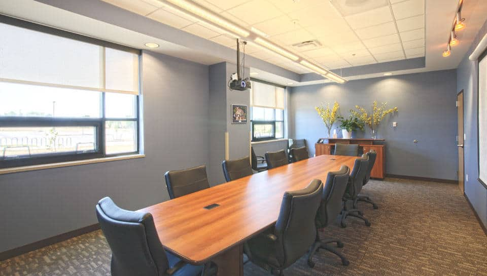 The Administrative suite includes a conference room that can accommodate 8-10 people.