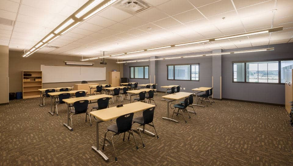 Classrooms are equipped with durable seating, and overhead video equipment.