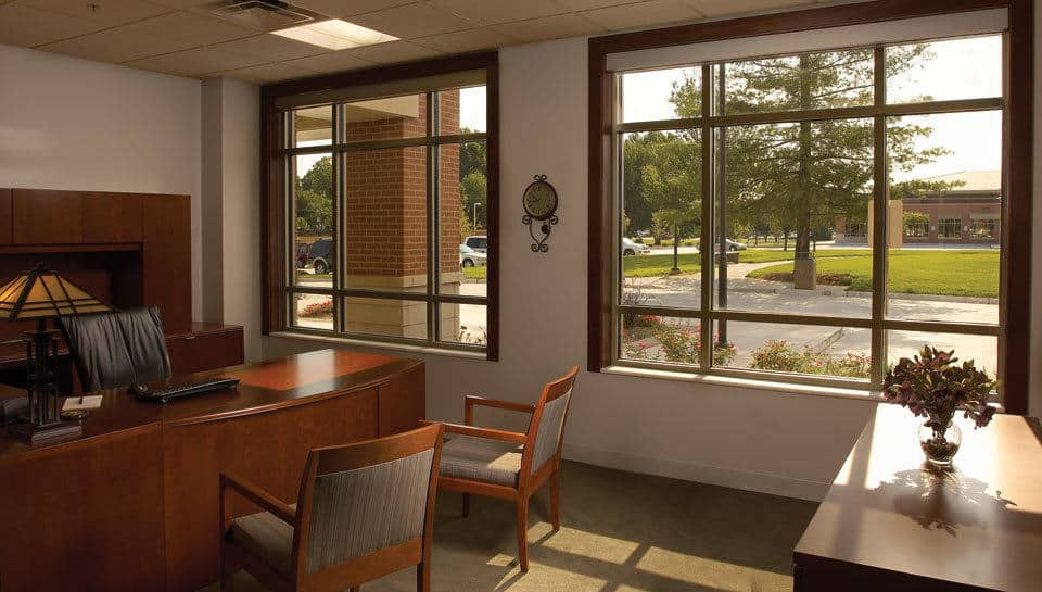In order to have light penetrate the interior core of the Williams-Keepers space, the fronts of the perimeter offices were partially glassed.