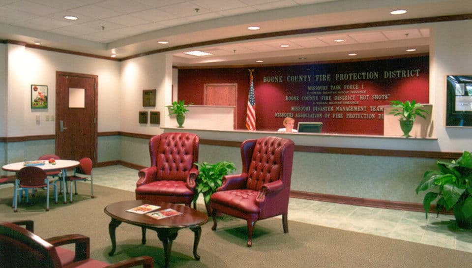 The reception area provides a friendly atmosphere welcoming visitors to the headquarters.