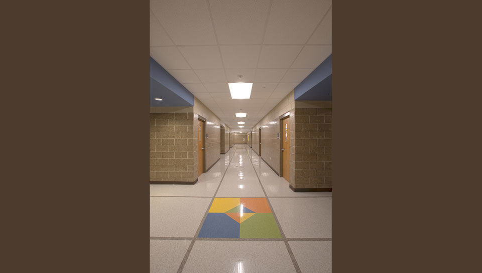 Hallway corridor at Battle Elementary School.