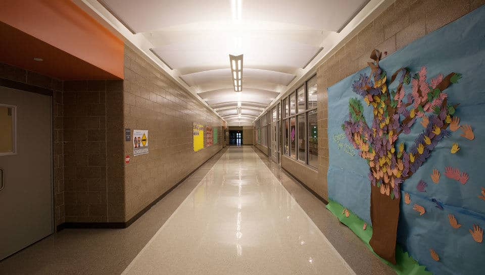 This corridor at Battle Elementary School leads to the gym, media center, and computer lab.