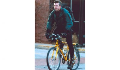 Eric Roselle riding to work.