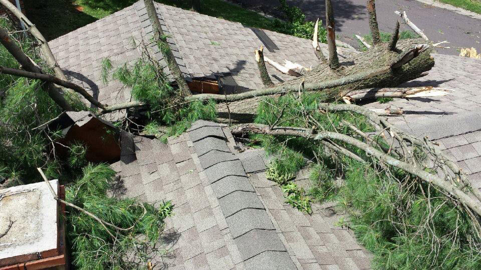 Damage to roof after storm.