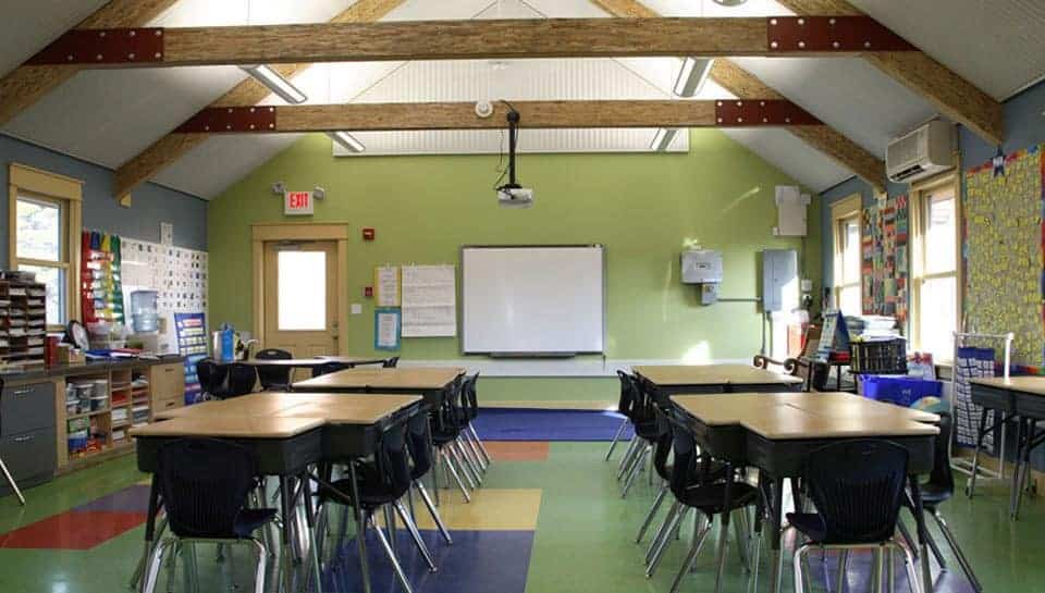 Perforated, recycled aluminum with batt acoustical treatment was use on end walls and ceiling of the Eco Schoolhouse for improved sound quality.