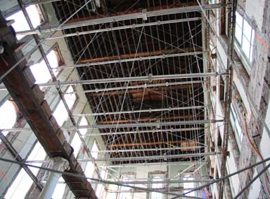 Switzler Hall Slideshow image of structural support system used for Switzler Hall Renovation, University of Missouri.
