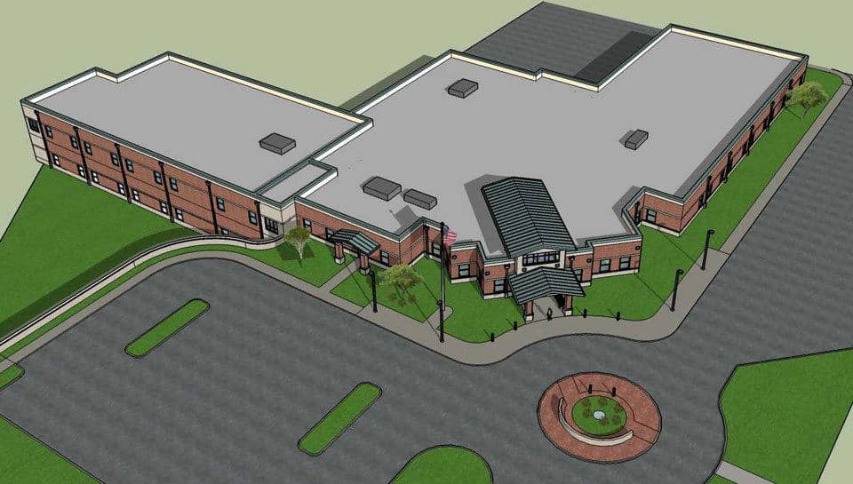 Aerial view of Columbia Public Schools Early Childhood Learning Center.