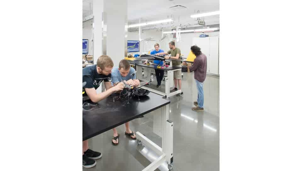 There are many spaces in Lafferre Hall where students can work on engineering projects. Photography by Randy Braley.