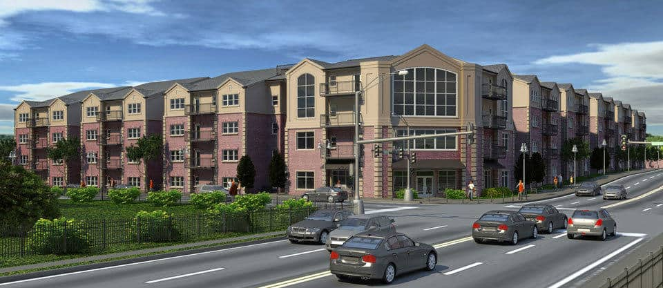 Rendering of residential apartments at College and Walnut in Columbia, Missouri.
