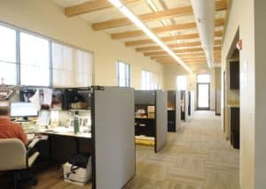 Cubicles in the Missouri Department of Conservation Office are positioned on exterior walls and are abundantly lit by natural light.