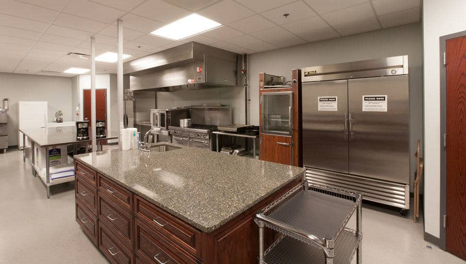 A new commercial kitchen is part of the basement level of the new addition at Parkade Baptist Church.
