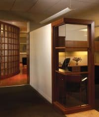 Glass walls provide a more open feel to the Williams-Keepers offices' interior spaces.