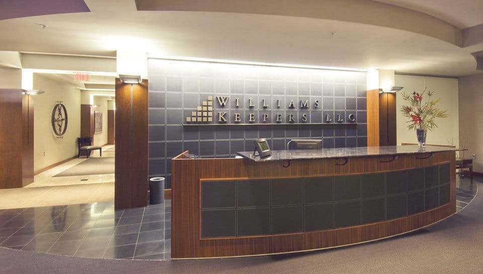 The lobby of the Williams-Keepers accounting office reflects a successful and sound image for the business.