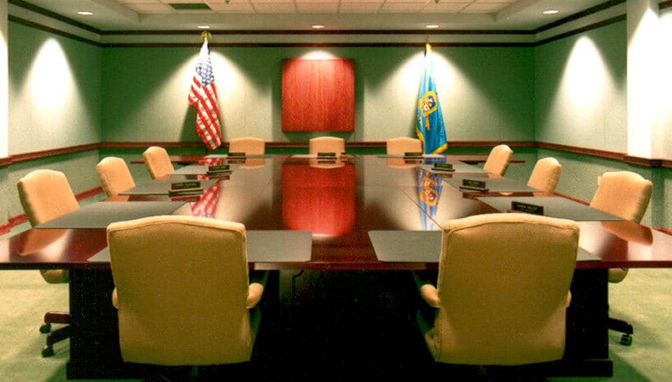 A spacious BCFPD boardroom is used for both private and public meetings.