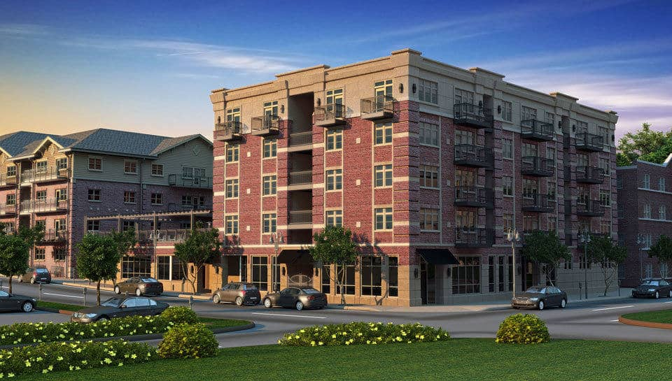 Brookside Downtown Tenth and Elm South Apartment Complex includes a pool and private club.