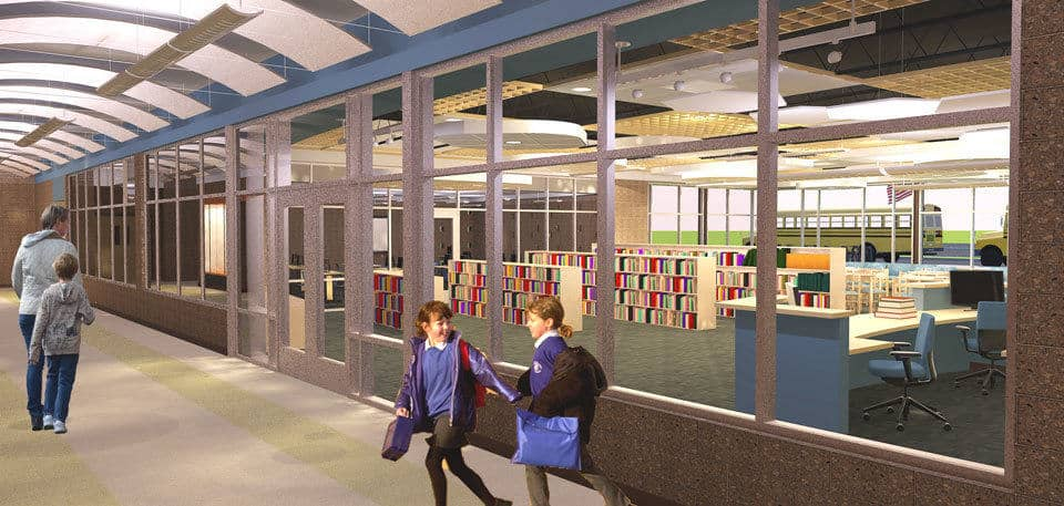 Rendering of the hallway planned for Columbia Public Schools' Northeast Elementary School.