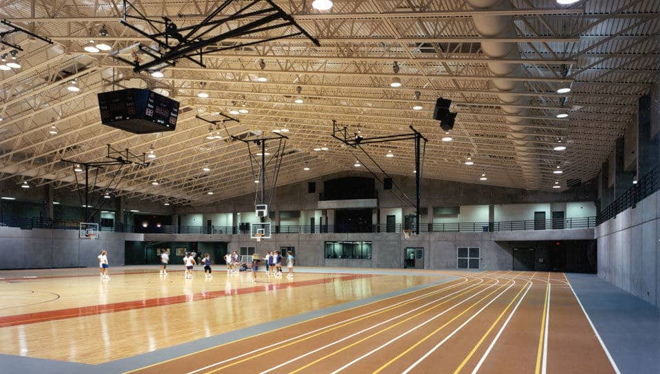 Indoor track and gymnasium of the Missouri Valley College Burns Athletic Center.
