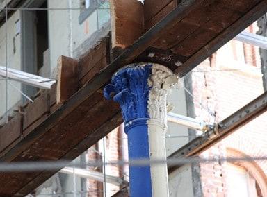 Column left after demolition of interior during Switzler Hall Renovation, University of Missouri.