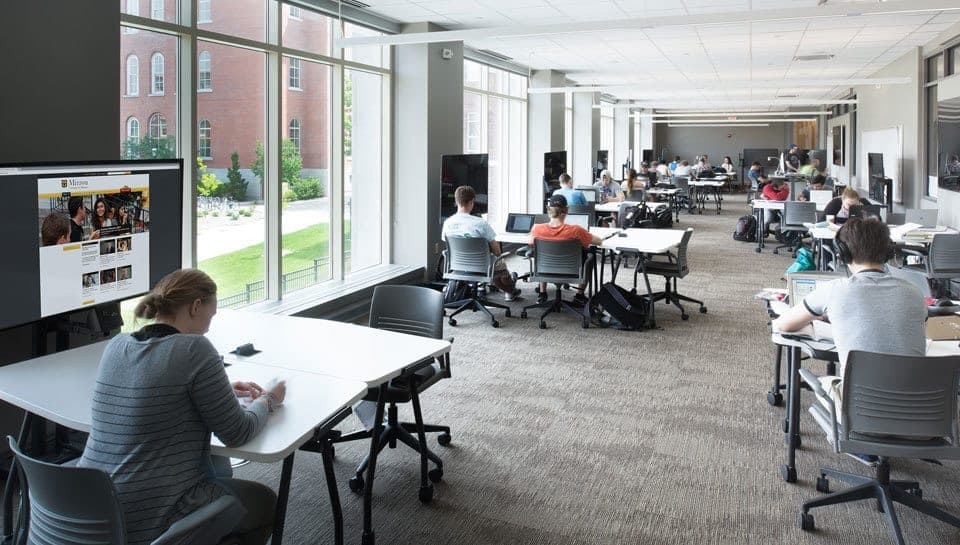 Lafferre Hall has many spaces where students can study and collaborate. Photography by Randy Braley.