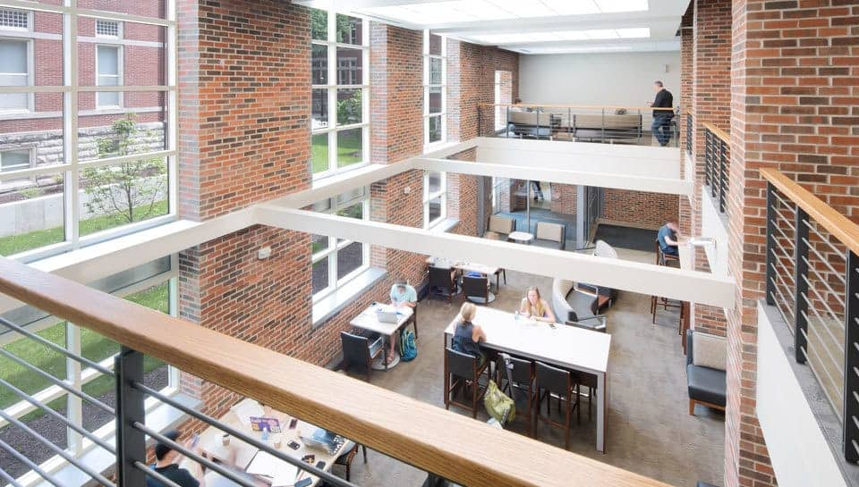 The lobby of Lafferre Hall from the mezzanine level. Photography by Randy Braley.