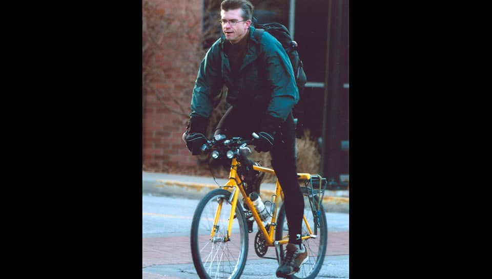 Whenever possible, Eric Roselle bikes to work.