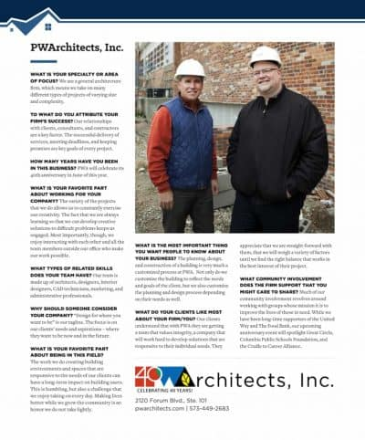 PWA Advertorial in the May 2018 Real Estate issue of the Columbia Business Times.